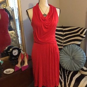 Kenneth Cole racer back cowl neck fire red dress